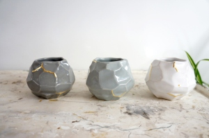 faceted vases