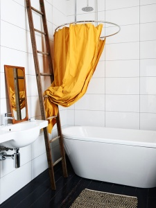 Gold shower curtain