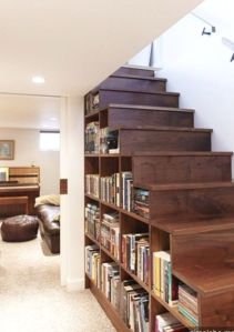 books under staircase
