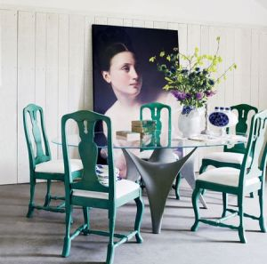 painted green chairs