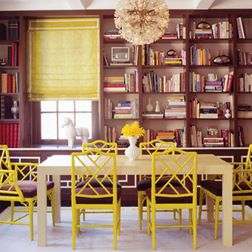 Yellow chinoserie chairs
