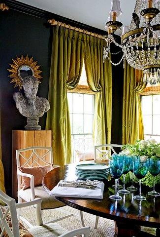 dark walls chartreuse drapes