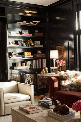 black laquer shelves