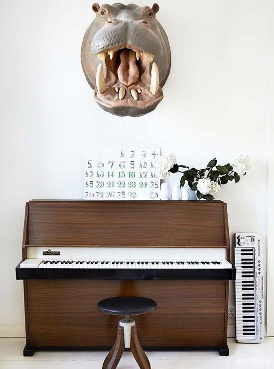 Hippo over the piano