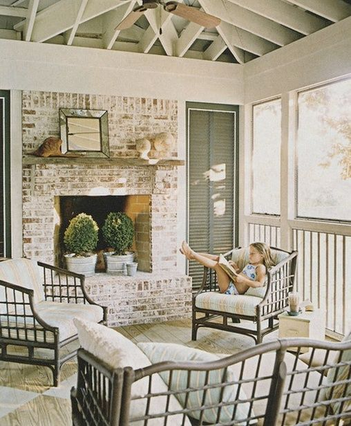 whitewash porch fireplace