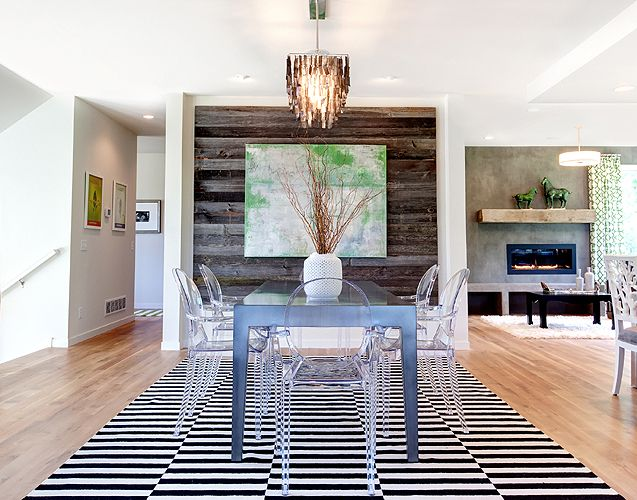 wood planked dining wall
