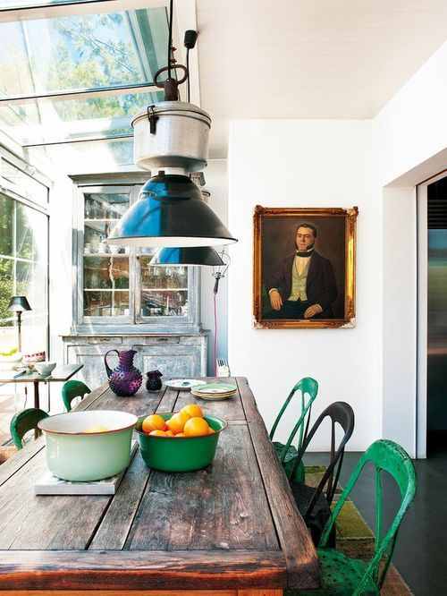 industrial dining room with art