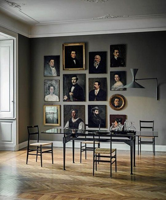 Dining room portraits on wall
