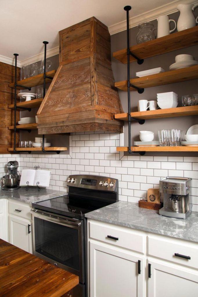 Rustic wood hood