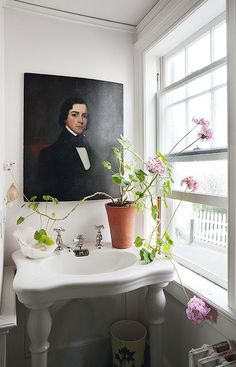 Painting instead of mirror in powder room