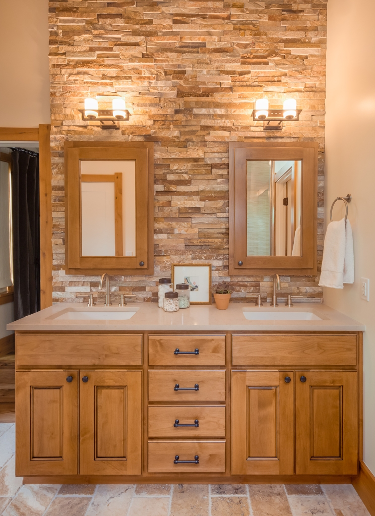 Rock Wall with custom cabinets