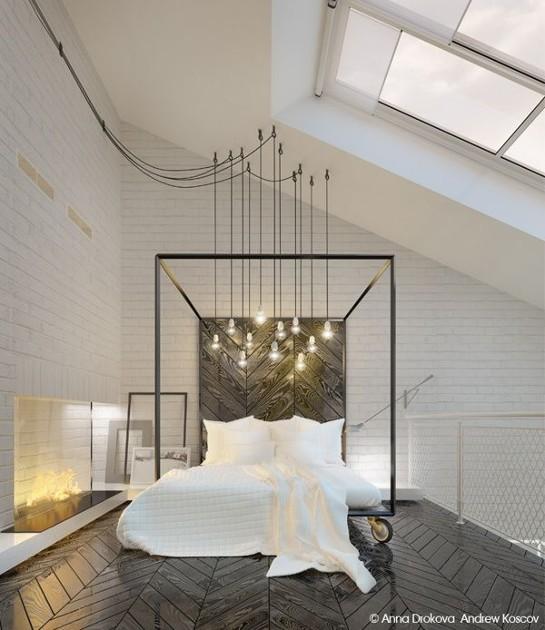 Bedroom industrial light fixture
