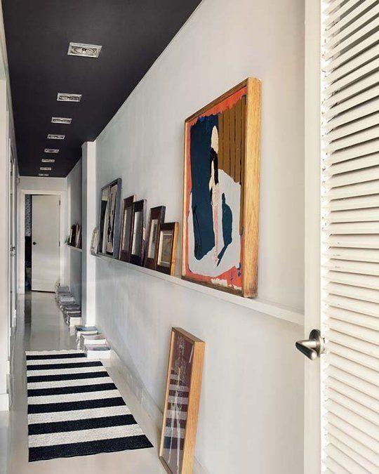 Elegant Black Ceiling Hallway