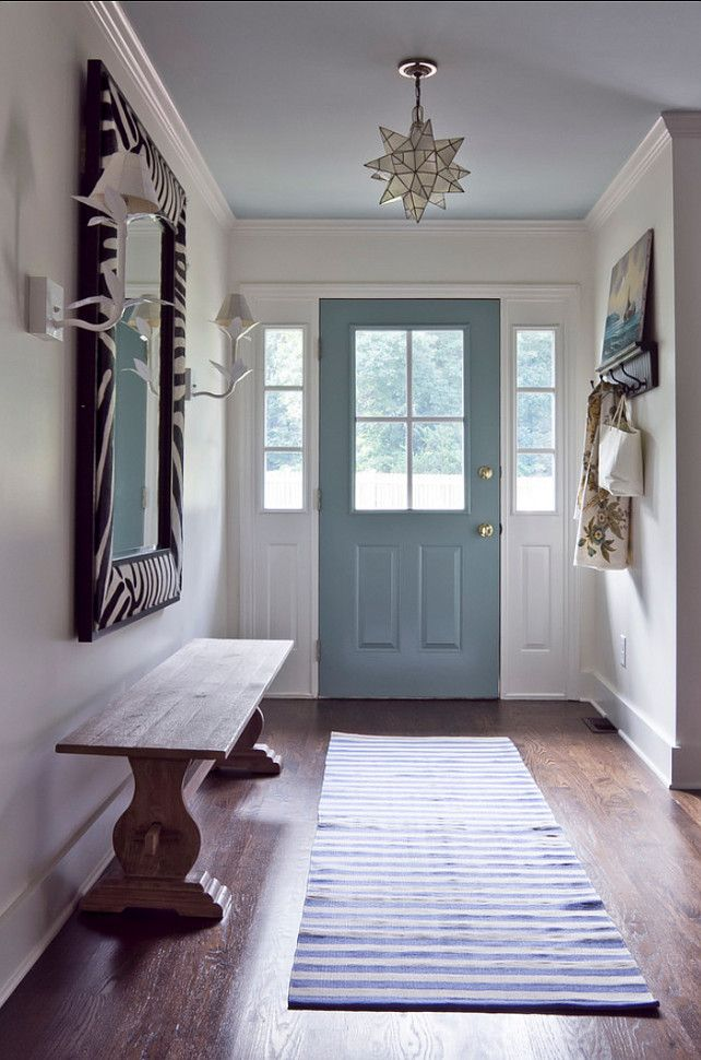 pale blue ceiling entry
