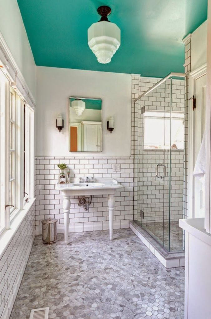 sea blue bathroom ceiling