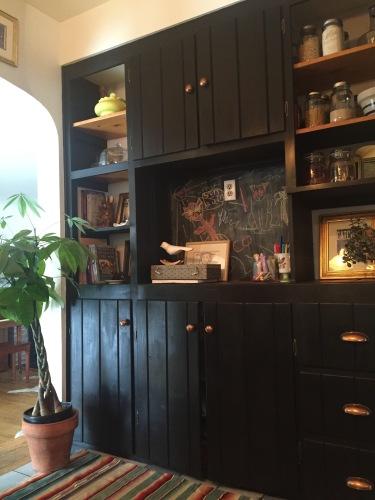 black cabinets cottage kitchen