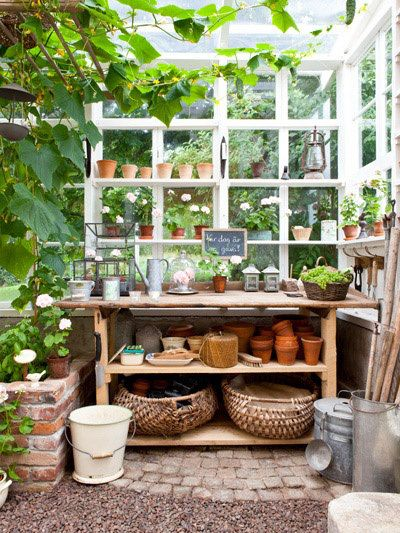 Brick and gravel potting shed