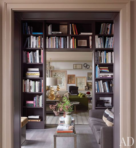 doorway with gray shelves