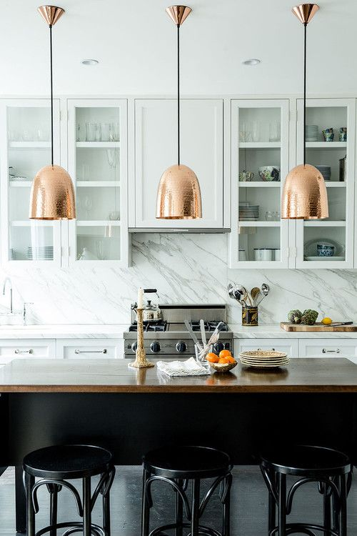 Copper pendants kitchen