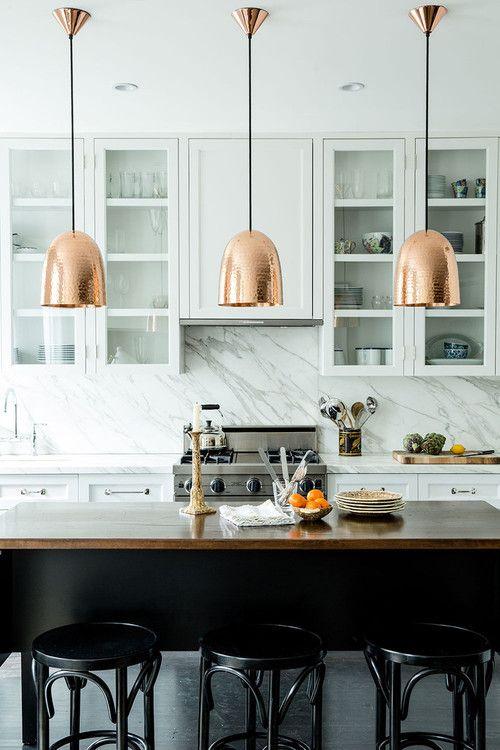 Copper pendants kitchen