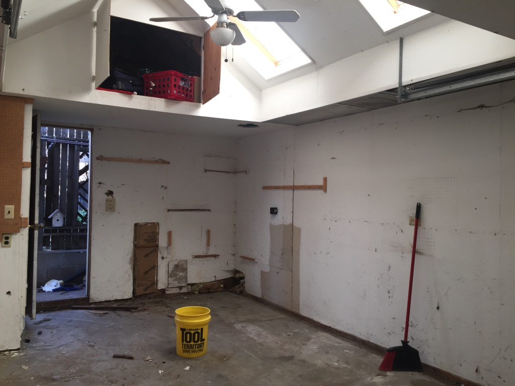 Garage renovation before photo