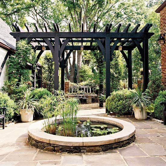 black pergola water garden