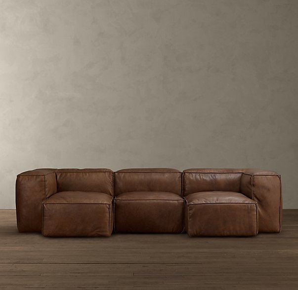 chunky leather sectional