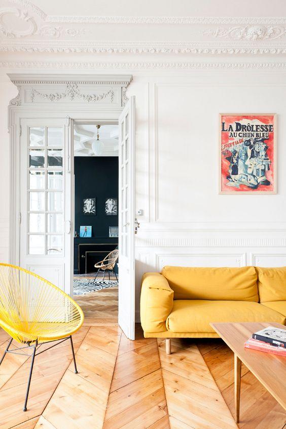 Yellow hoop chair
