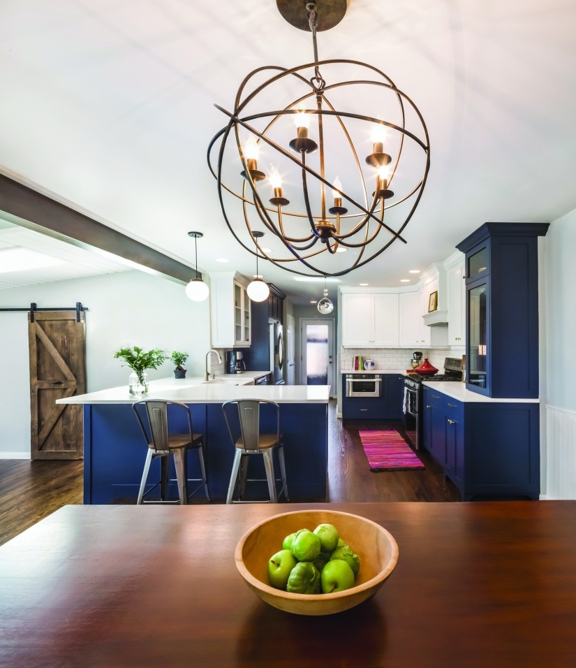 navy blue and white kitchen
