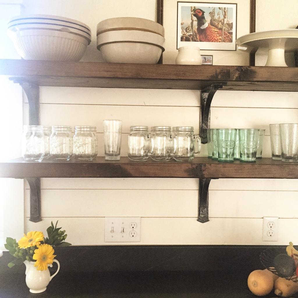 open rustic shelves