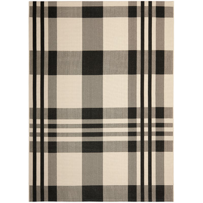 Black and white plaid rug