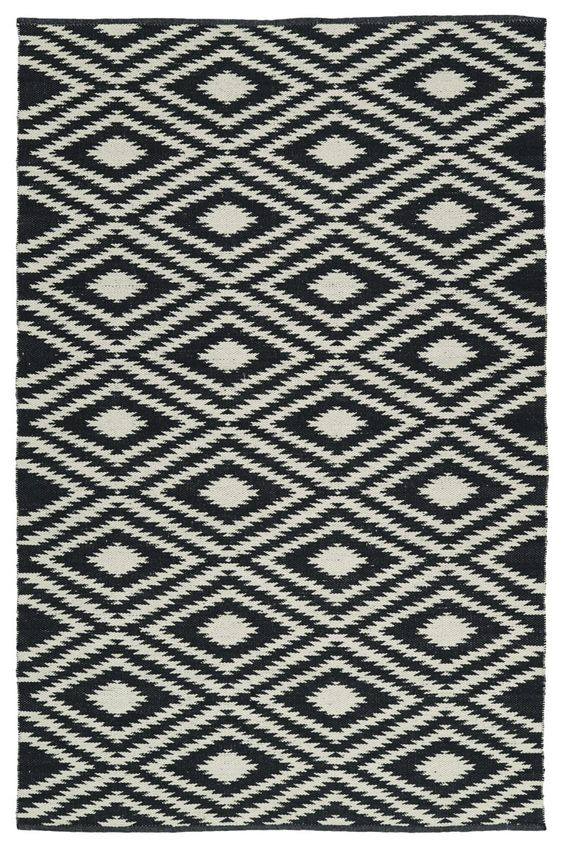 black and white tribal rug