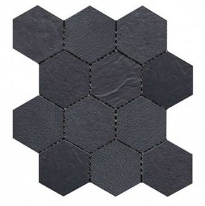 Charcoal hexagon mosaic tile