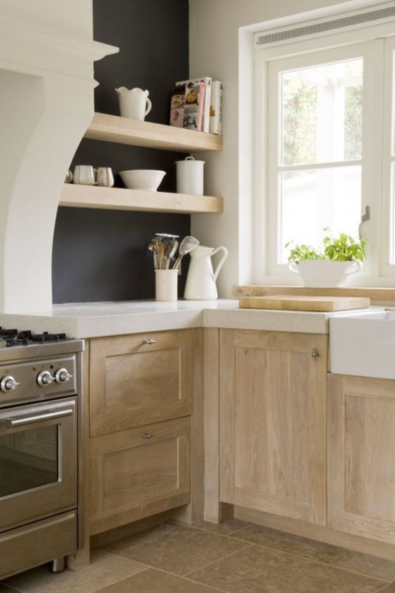 pale rustic wood kitchen