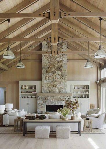 rustic living room pale wood