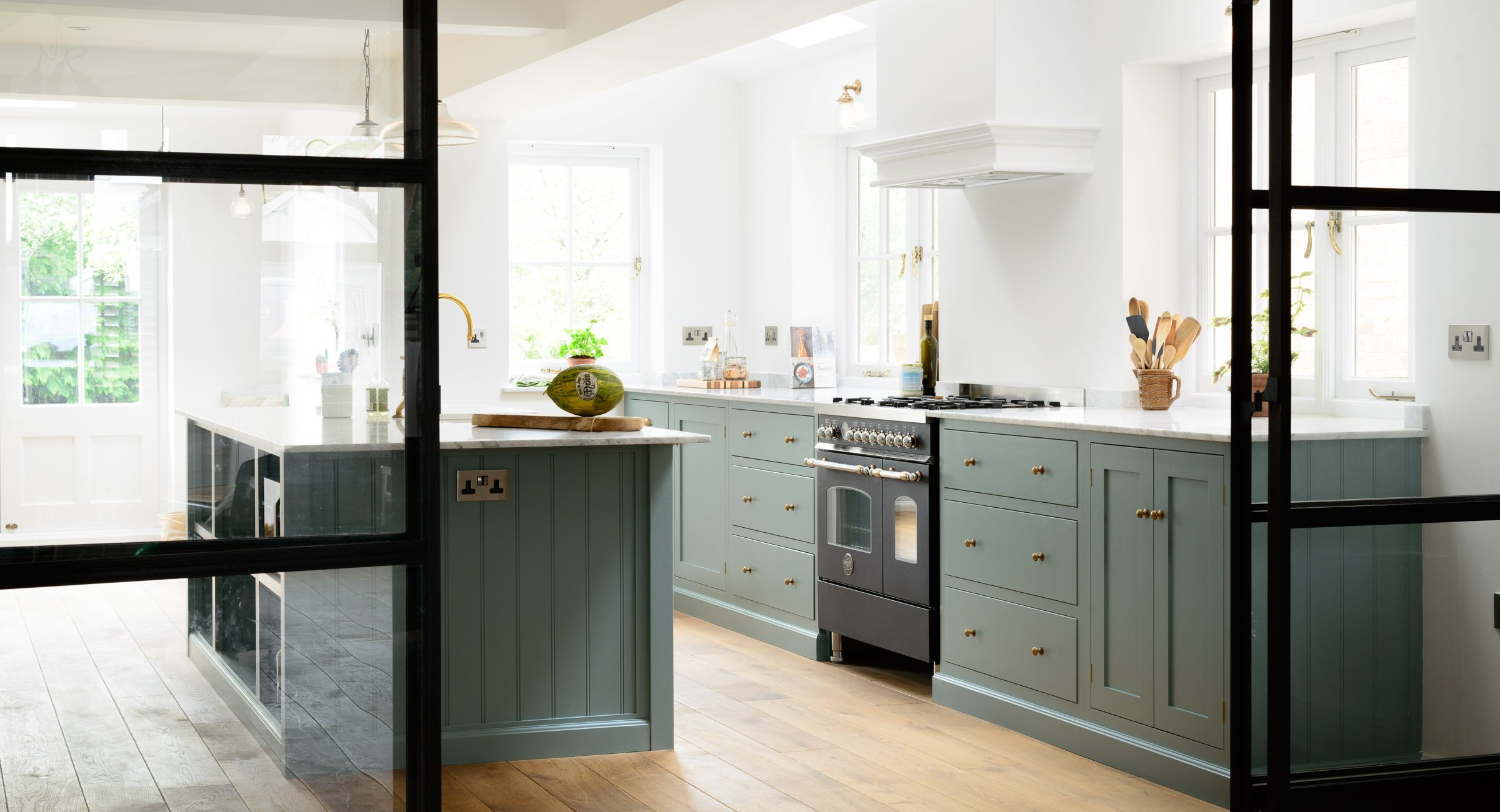 (Source) Blue Green Kitchen Cabinets