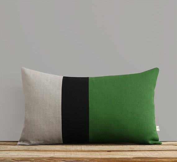 green-color-block-pillow