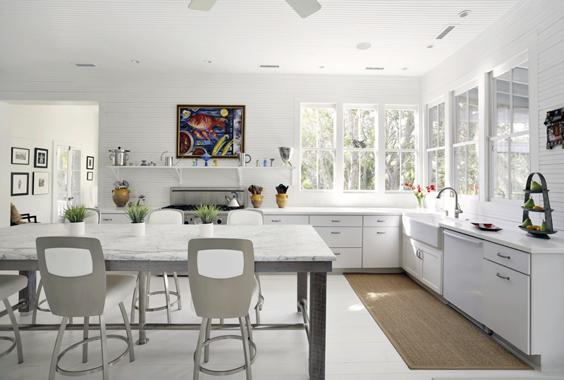 White Kitchen No Upper Cabinets