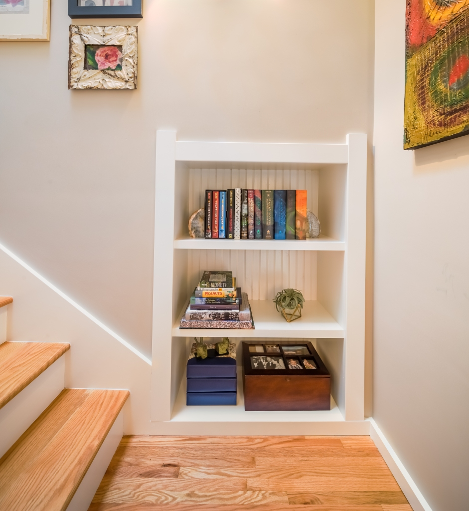 bookshelf on stairs