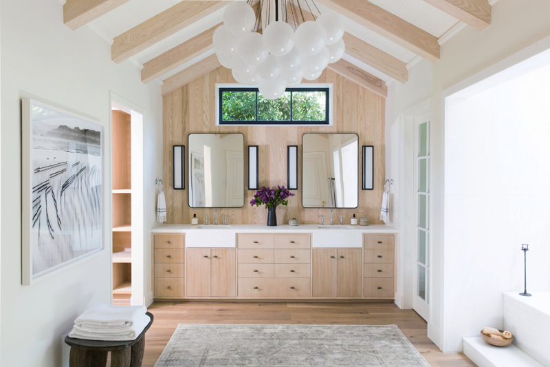 natural wood in bathrooms
