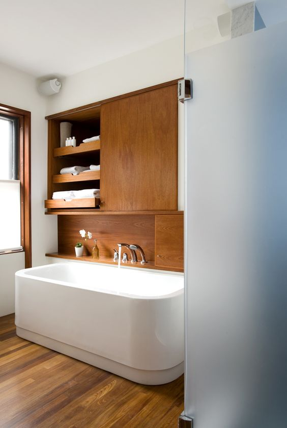 mid century modern bathroom natural wood
