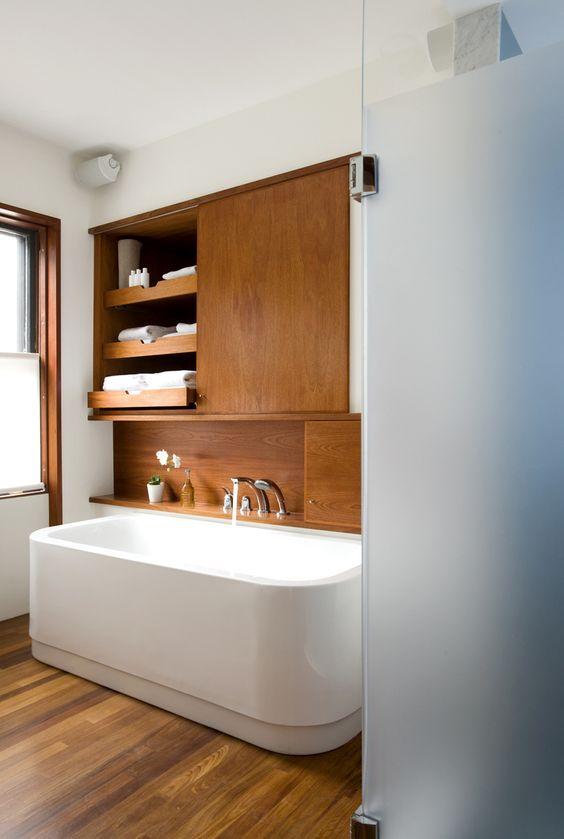 mid century modern bathroom natural wood