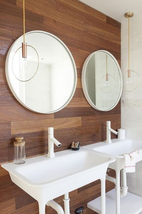 wood wall in bathroom