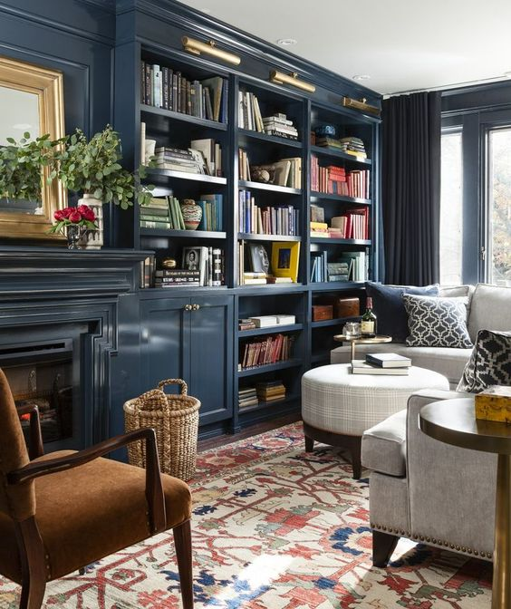 navy blue bookshelves