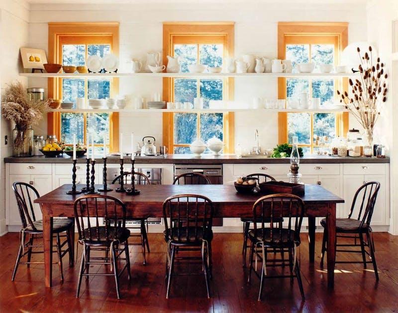 open shelves in front of windows