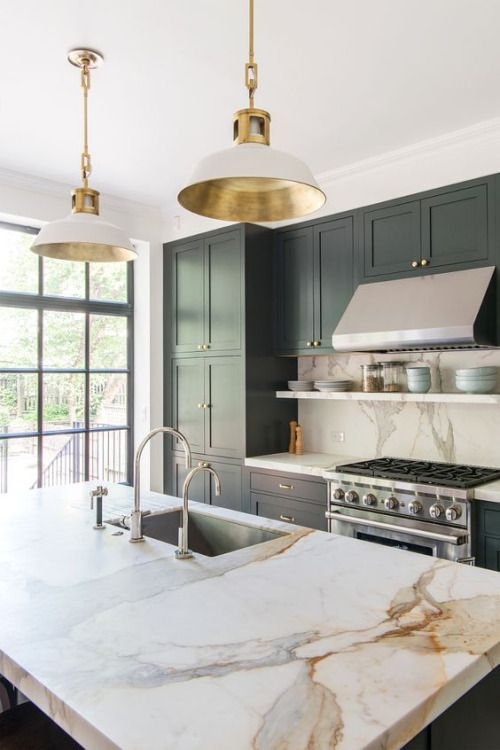 green kitchen white marble