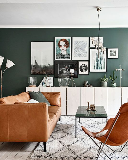 Dark Green art wall