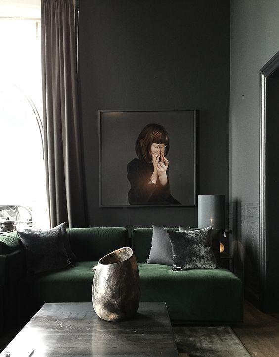green sofa gray walls