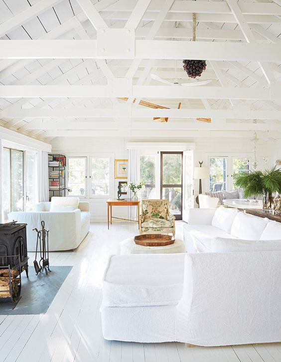 all white cottage interior