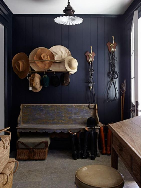 navy blue mudroom